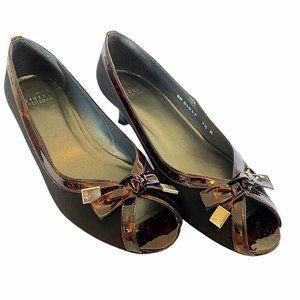 Stuart Weitzman Black Tortoise Patent Leather Heel